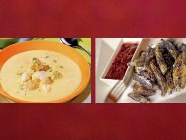Oběd 89  Květáková polévka s knedlíčky a Nudle s šedým mákem ...