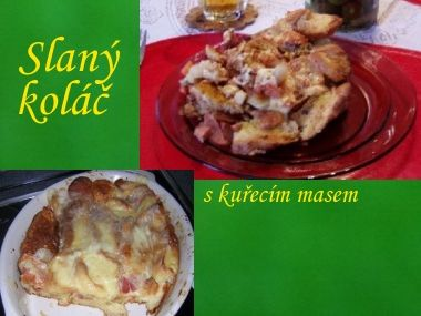 Slaný koláč s kuřecím masem