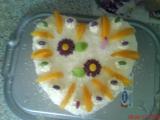 Šlehačkový dort s broskvemi recept