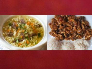 Oběd 64  Vývar s kapáním a Pekingská směs