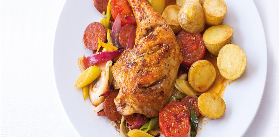 Kuře s chorizem a pórkem