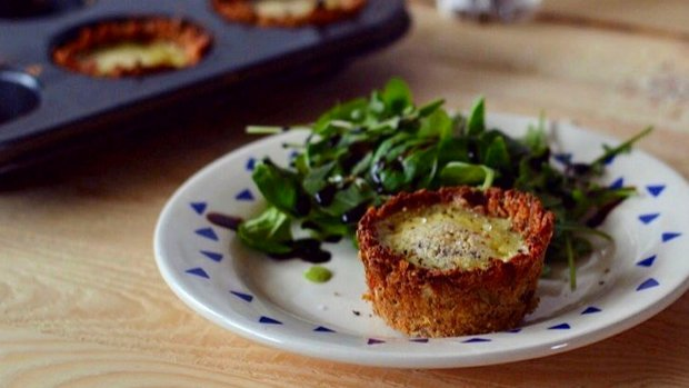 Zeleninové ovesné košíčky s vejcem a kozím sýrem