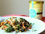 Pohanka s žampiony, mrkví a špenátem recept