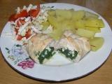 Kuřecí kapsa plněná špenátem a kozím sýrem recept