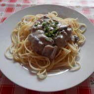 Špagety s taveným sýrem a žampiony recept