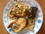Zapečená ryba a žampiónová příloha recept
