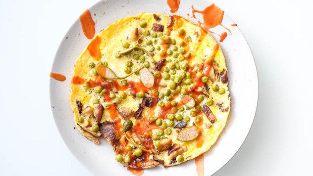 Rychlá omeleta s hlívou a kapary