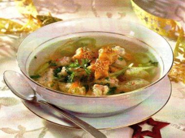 Polévka s krabími knedlíčky