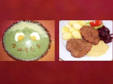 Oběd 60  Špenátovka s vejci a Králičí biftečky