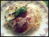 Špagety se smaženým lilkem a rajčaty recept