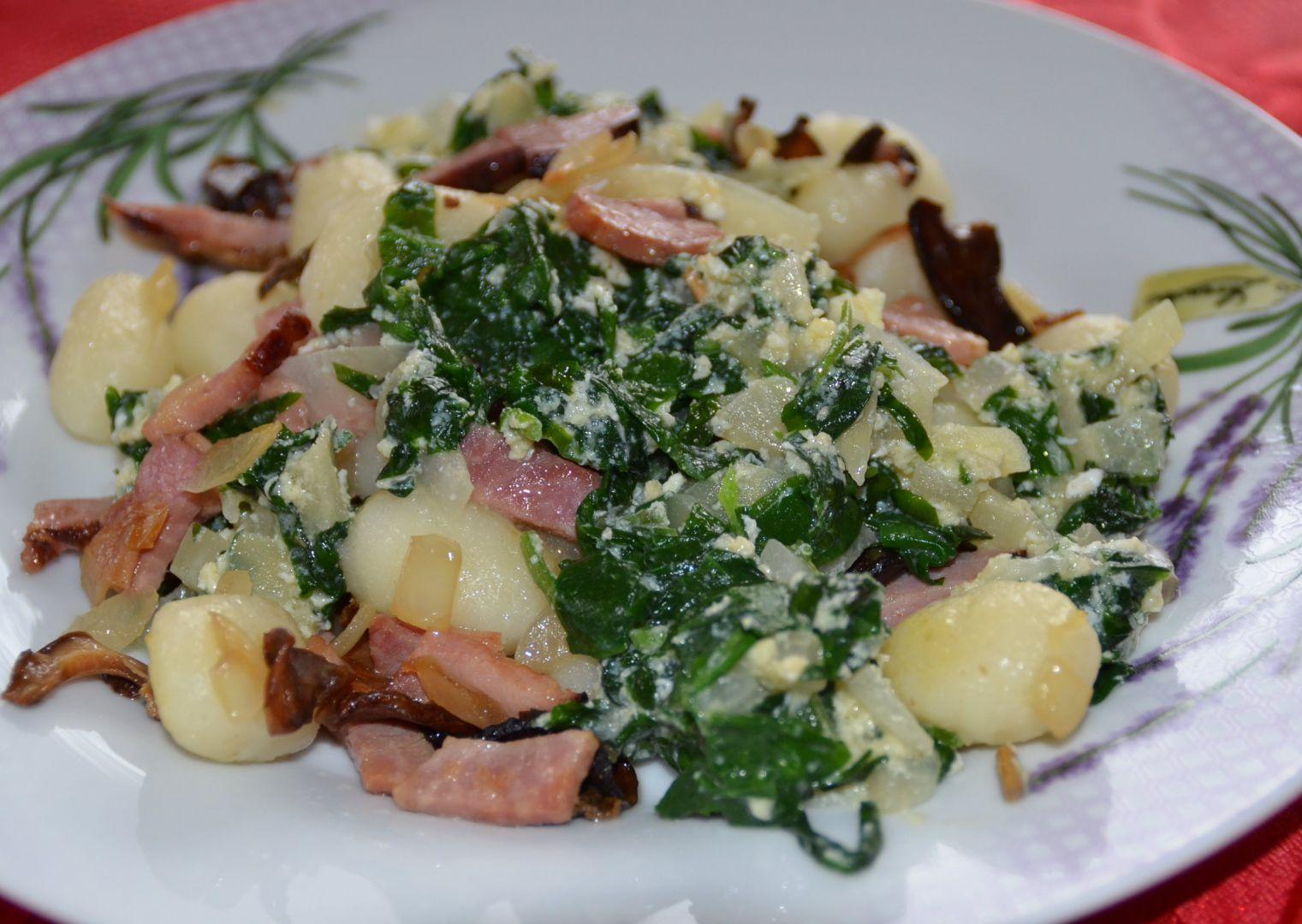 Gnocchi se špenátem z medvědího česneku recept