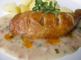 Uzené kuře s omáčkou z čerstvé majoránky recept