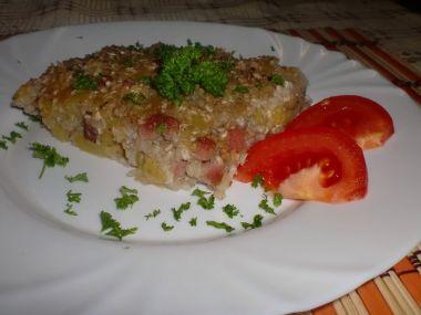 Pohanka zapečená s bramborem, uzeným masem a kyselým zelím ...