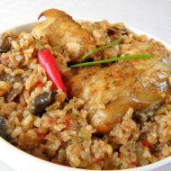 Kuře v rýži s houbami recept