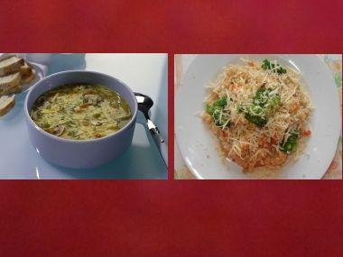 Oběd 9  Slepičí polévka a rizoto