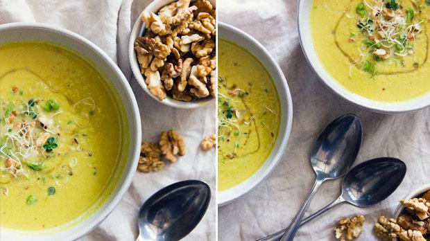 Pórková polévka s chřestem a vlašskými ořechy