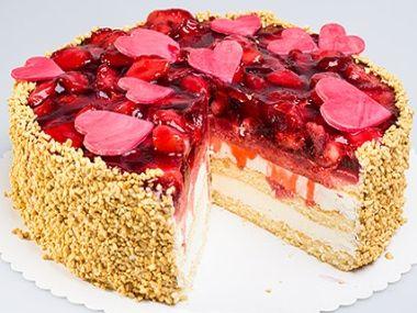 Valentýnský jahodový dort a dortíček