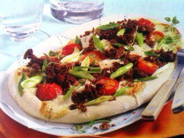 Pizza s gorgonzolou a masem