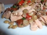 Čočkovo-paprikový salát s tuňákem recept