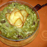 Houbovo-sýrové špenátové nudle recept