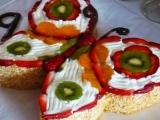 Ovocný dort motýl recept