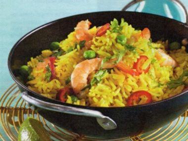 Dušená rýže s krevetami