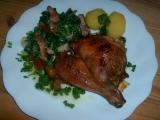 Kuře na česneku a smetanový špenát recept