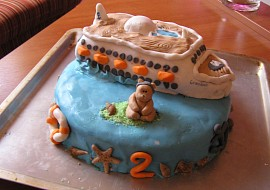 Narozeninový dort  loď recept