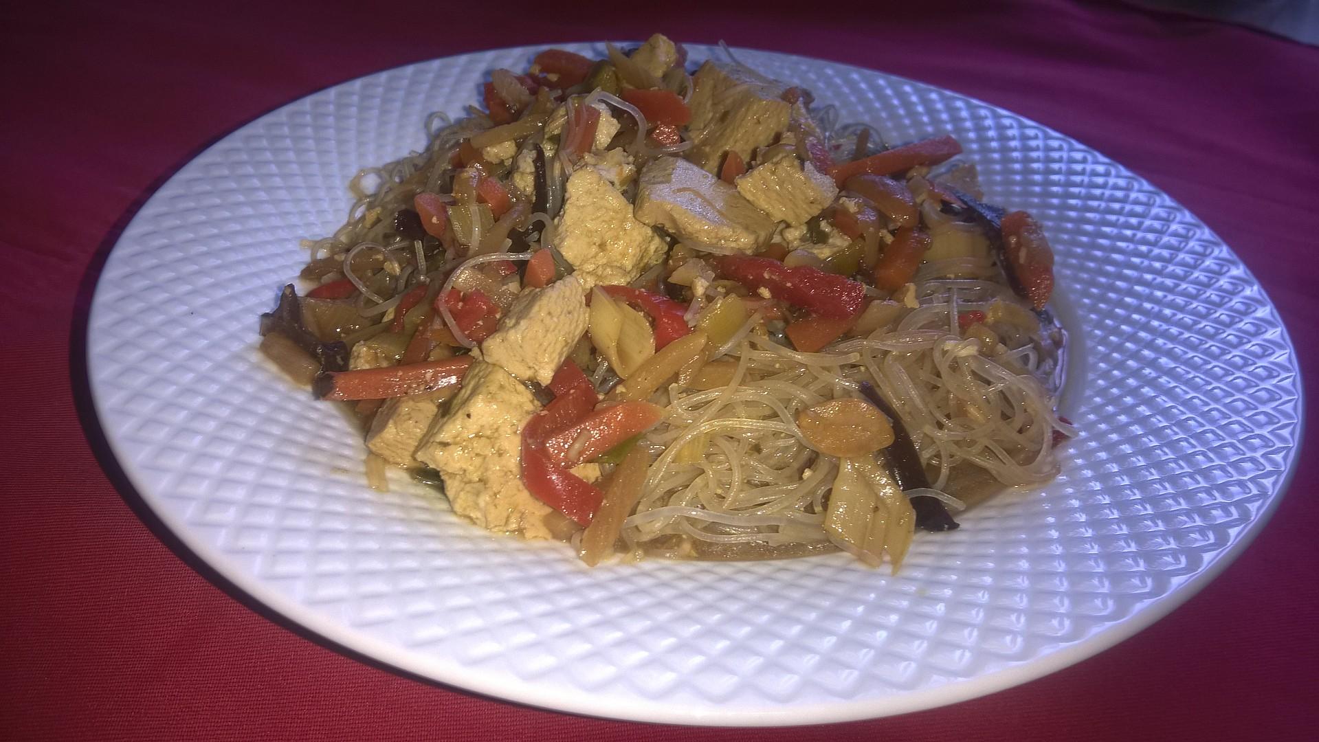Rýžové nudle s tofu recept