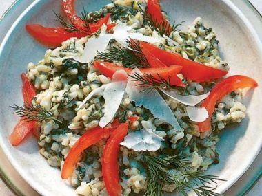 Zapečené špenátové rizoto