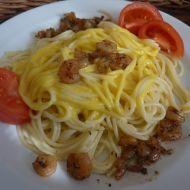 Špagety s krevetami přelité holandskou omáčkou recept