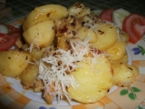 Zapečené brambory se smetanou a kuřecím masem recept ...