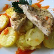 Kuřecí prsa s pečenými brambory recept