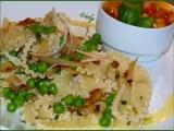 Voňavé Mafaldine s cibulí a hráškem recept