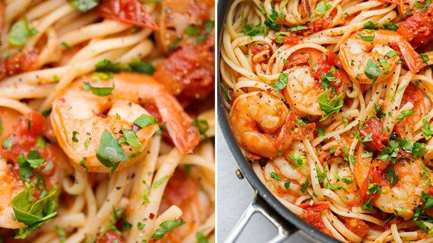 Pikantní těstoviny s krevetami