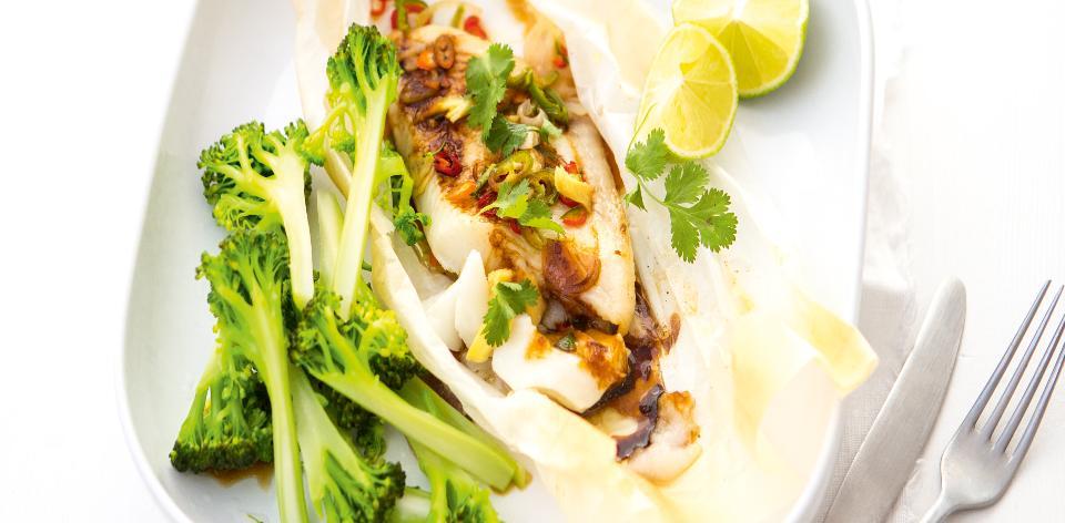 Pečená bělomasá ryba s vařenou brokolicí