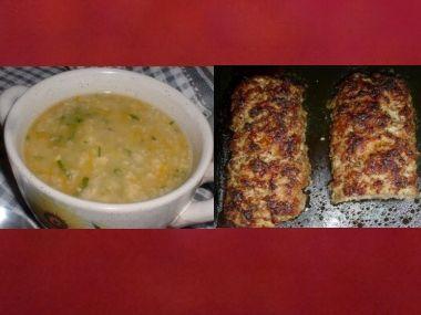 Oběd 49  vločková polévka a levná sekaná