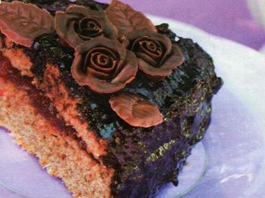 Čokoládový dort s růžičkami