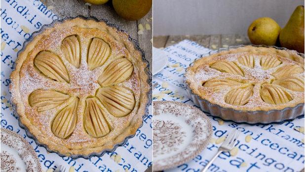 Hruškový koláč s mandlovou náplní