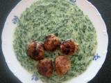 Masové kuličky ve špenátové omáčce recept