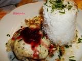 Kuřecí plátek s dvojím sýrem, brusinkami a rýží recept