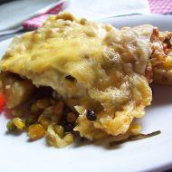 Gratinované brambory s kukuřicí a hráškem recept