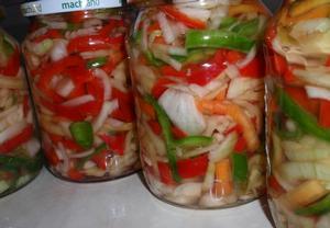 Barevný paprikový salát s cibulí  sterilovaný