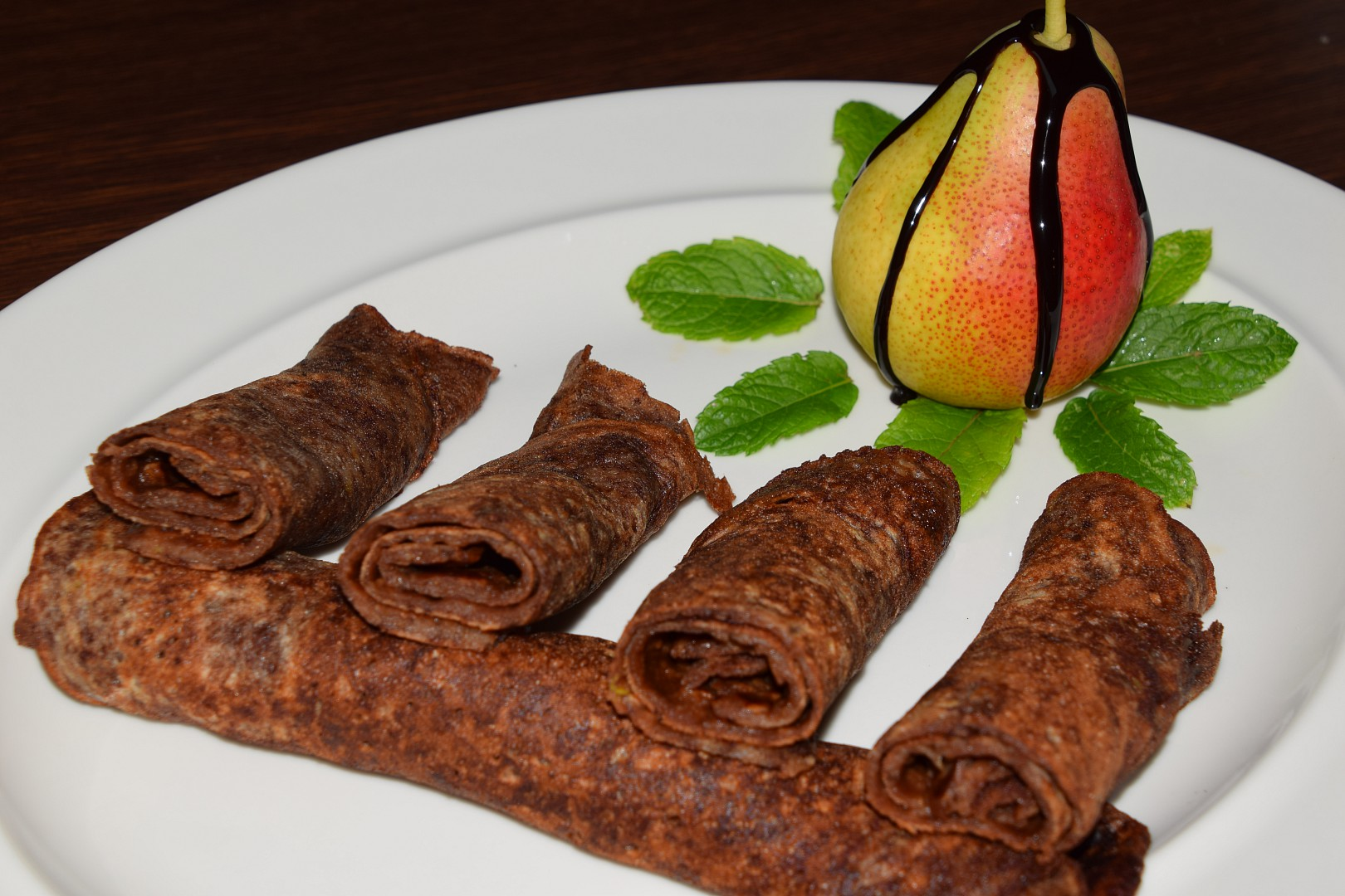 Celozrnné čokoládovo  hruškové palačinky recept