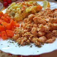 Pikantní lososové nudličky s bramborovým salátem recept