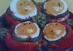 Pečená rajčata plněná šunkou a vejci