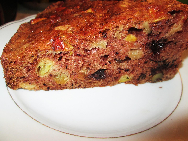 Jablkovo  ořechový koláč s čokoládou recept