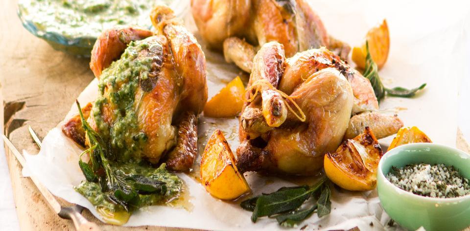 Pečené jarní kuře s bylinkovým pestem