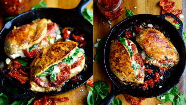 Kuře plněné rajčaty a špenátem