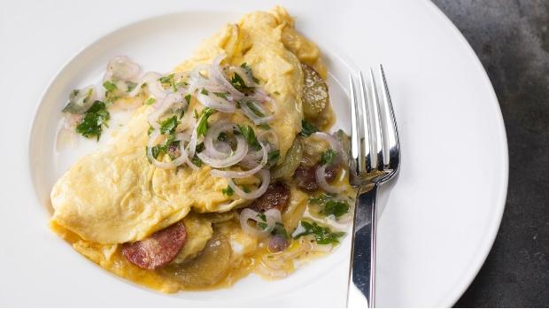 Vaječná omeleta s chorizem